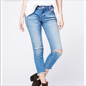 Free People Ripped Knee Ankle Skinny Jeans Blue 25